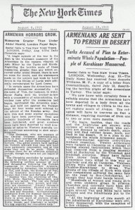 Две статьи в газете The New York Times от 1915 года о Геноциде армян