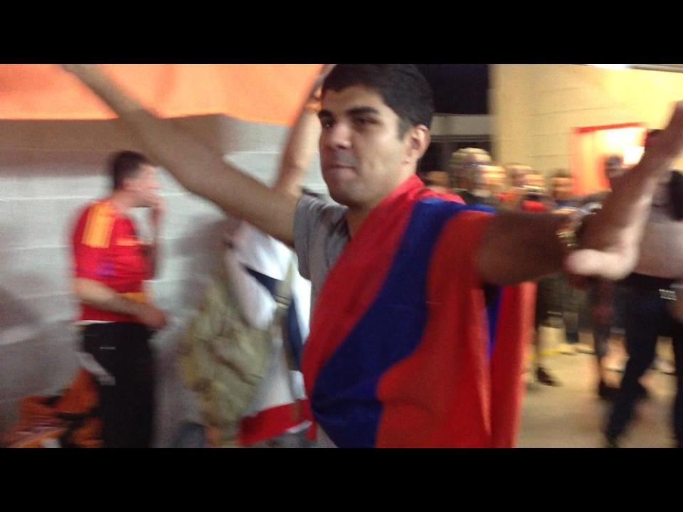 Армянские болельщики в Праге, после матча