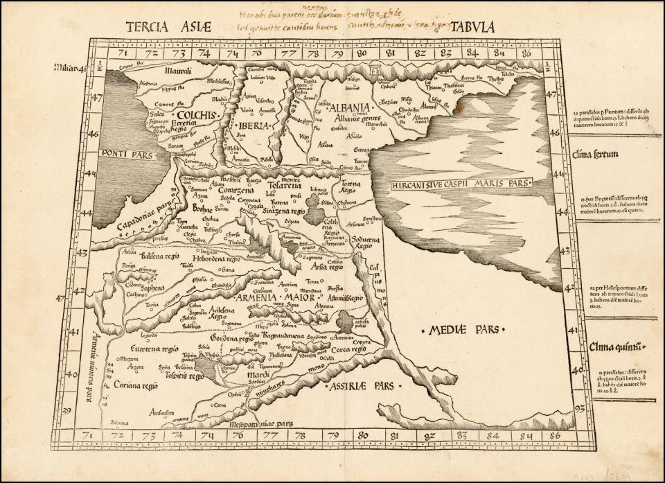 Карта Армении XVI век